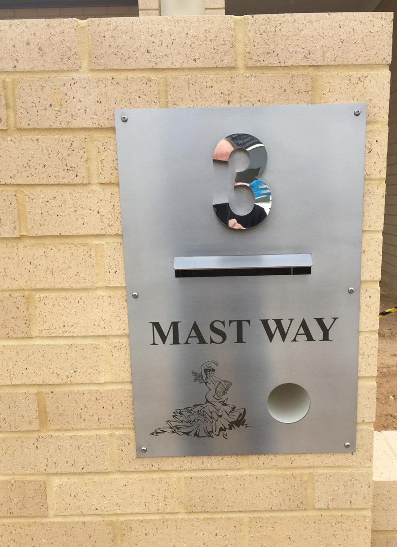 Letterbox Sign, Laser Etched and 3D Stainless Number
